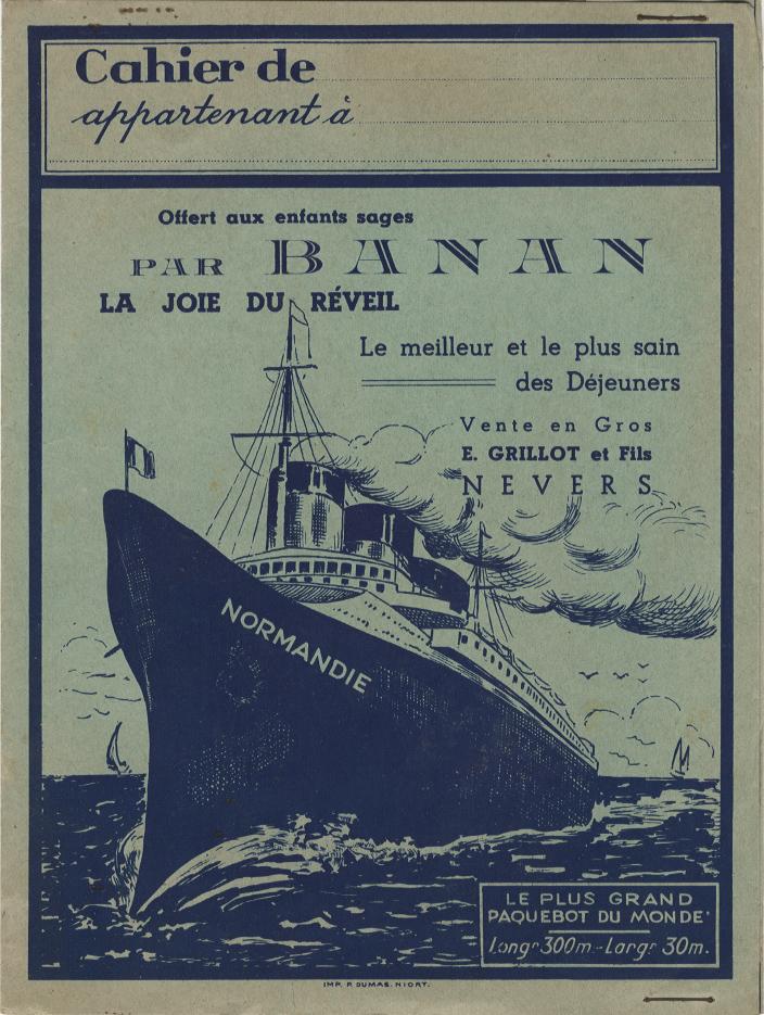 Paquebot Normandie - Protège-cahier BANAN