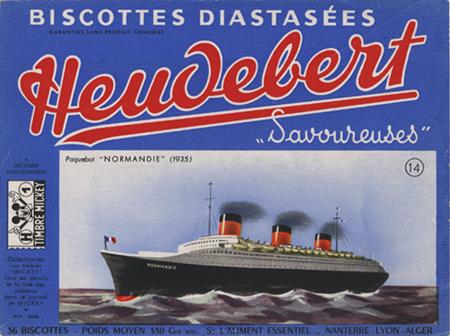 Paquebot Normandie - Etiquette de biscottes HEUDEBERT