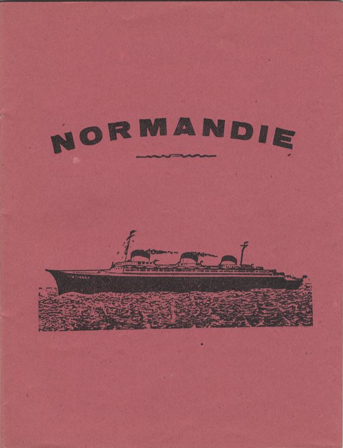 Paquebot Normandie - Protège-cahier avec tables des multiplications au dos