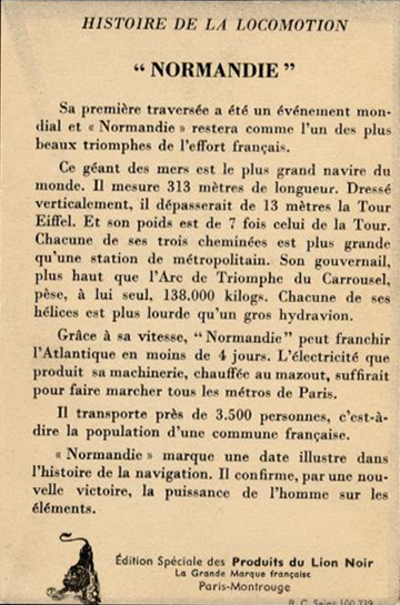 PAQUEBOT NORMANDIE - CARTE COLLECTION FRANCE GF CIRAGE LION NOIR 2 VERSO 1 HISTOIRE DE LA LOCOMOTION