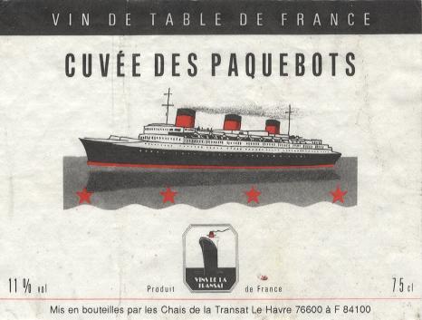 Paquebot Normandie - Etiquette bouteille de vin Cuvée des Paquebots