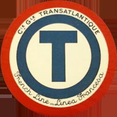 ETIQUETTE DE QUAI - LETTRE T - FRENCH LINE - LINEA FRANCESA