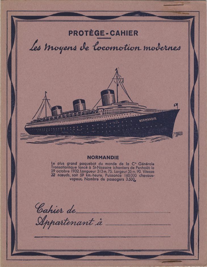 Paquebot Normandie - Protège-cahier GADUASE