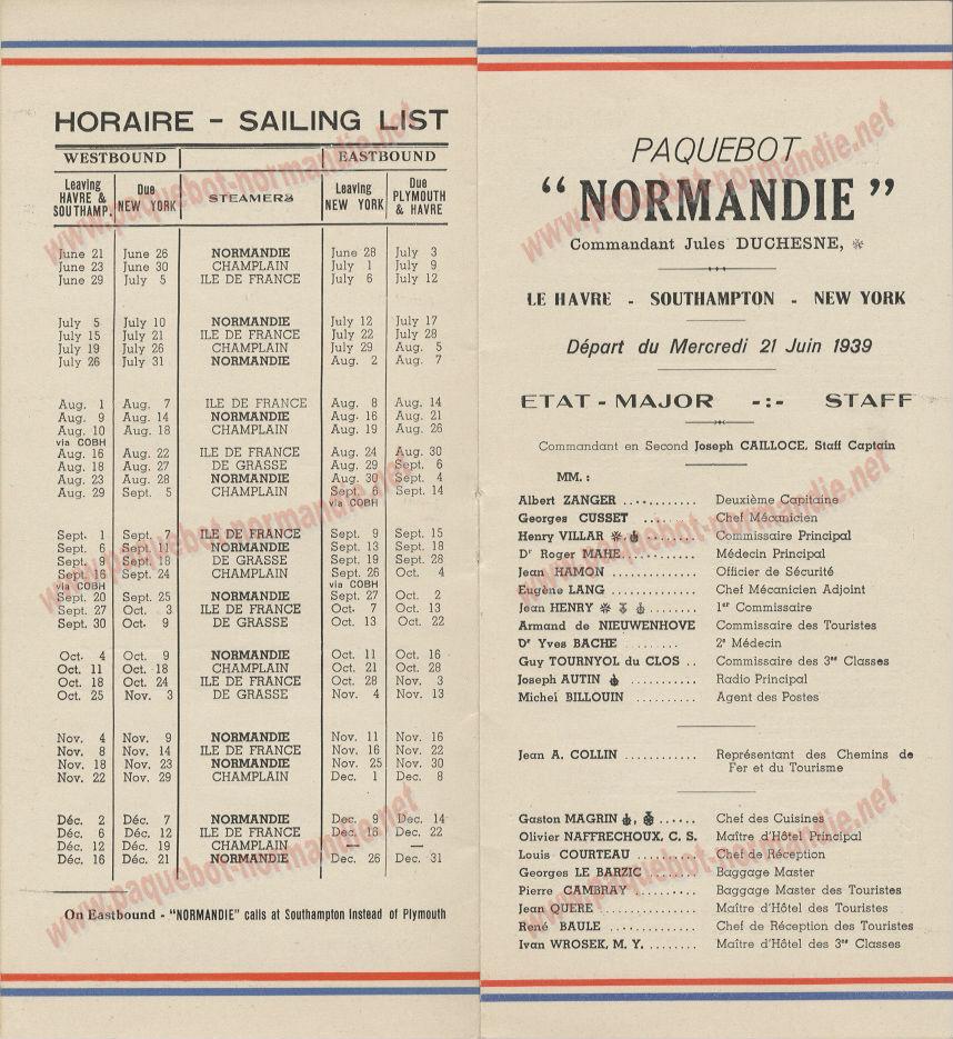 PAQUEBOT NORMANDIE- LISTE DES PASSAGERS DU 21 JUIN 1939 - 2