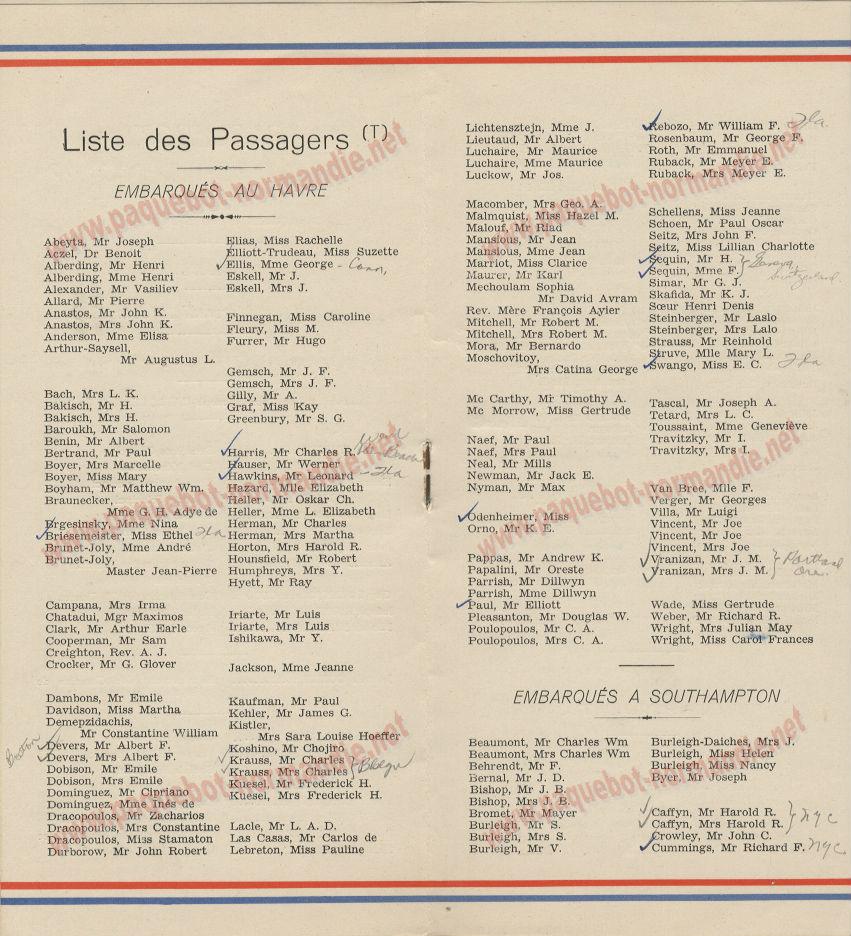 PAQUEBOT NORMANDIE- LISTE DES PASSAGERS DU 21 JUIN 1939 - 3
