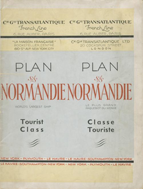 PAQUEBOT S.S NORMANDIE - PLAN 2ème CLASSE COULEURS NON DATE MAIS PROBABLEMENT1935 - COUV. FERMEE