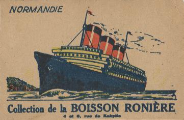 Paquebot Normandie - CARTES PUBLICITAIRES PETITS FORMATS - BOISSON RONIERE