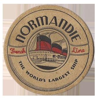 Paquebot Normandie - Sous-bock - Texte anglais - Effigie S.S Normandie